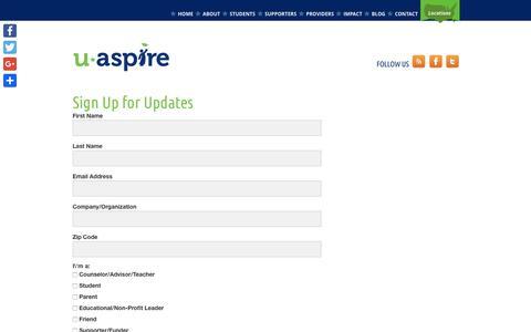 Screenshot of Signup Page uaspire.org - Sign Up for Updates - uAspire - captured Nov. 19, 2016