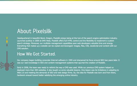 Screenshot of About Page pixelsilk.com - Popular CMS - Pixelsilk Multisite - captured July 14, 2016