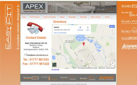 Screenshot of Contact Page apex-international.co.uk - Easy-Fit : PVCu & Aluminium Windows, Doors and Conservatories - captured Oct. 4, 2014