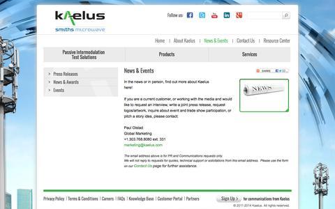 Screenshot of Press Page kaelus.com - News & Events | Kaelus - captured Oct. 6, 2014