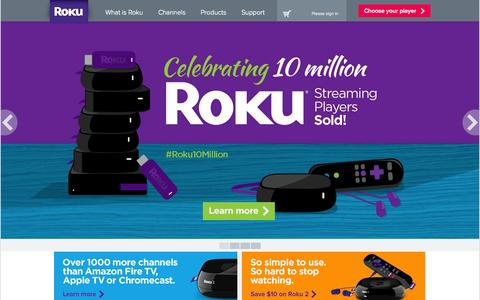Screenshot of Home Page roku.com - Roku Streaming Player - captured Sept. 17, 2014