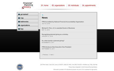 Screenshot of Press Page fpm.org - News listing - captured Sept. 29, 2018