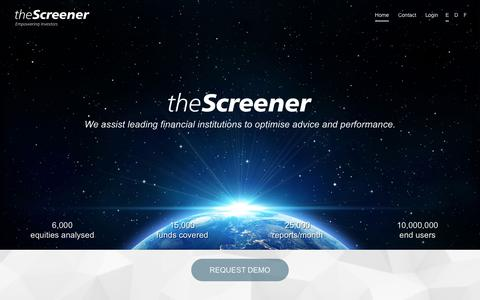 Screenshot of Home Page thescreener.com - theScreener - Empowering Investors - captured Dec. 2, 2016