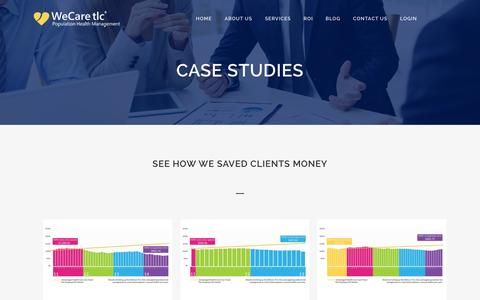 Screenshot of Case Studies Page wecaretlc.com - WeCare TLC |   Case Studies - captured Feb. 5, 2016