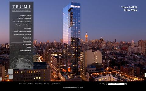 Screenshot of Home Page trump.com - Trump Luxury Real Estate | Trump Real Estate Portfolio | Trump Towers - captured Oct. 15, 2015