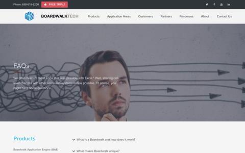 Screenshot of FAQ Page boardwalktech.com - Boardwalktech | Collaborate in Excel - captured Nov. 22, 2016