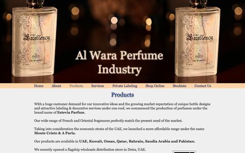 Screenshot of Products Page esteviauae.com - Al Wara Perfume Industry, Estevia Parfum, Dubai | Products - captured Nov. 20, 2016