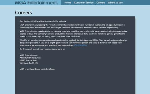 Screenshot of Jobs Page mgae.com - MGA Entertainment | Careers, Job Search, Opportunities - captured Sept. 19, 2014