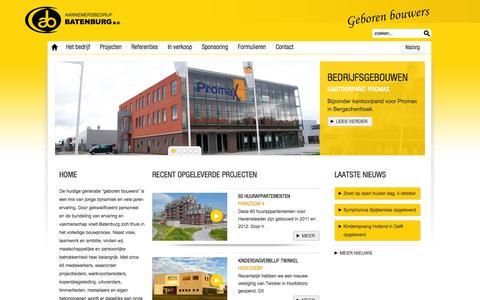 Screenshot of Home Page Privacy Page batenburgbv.nl - Batenburg - Aannemersbedrijf en Projectontwikkeling - Batenburg - captured Oct. 4, 2014
