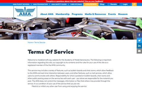 Screenshot of Terms Page modelaircraft.org - Terms Of Service | Academy of Model Aeronautics - captured Oct. 1, 2018