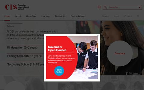 Screenshot of Home Page cis.edu.sg - Learn from the Best | Canadian International School Singapore - captured Nov. 9, 2018
