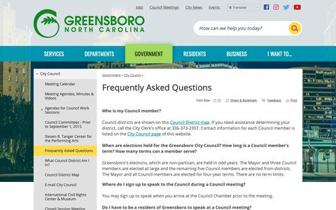 Screenshot of FAQ Page greensboro-nc.gov - Frequently Asked Questions | Greensboro, NC - captured Sept. 28, 2018