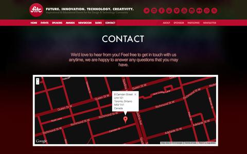 Screenshot of Contact Page fitc.ca - Contact // FITC - captured Sept. 24, 2014