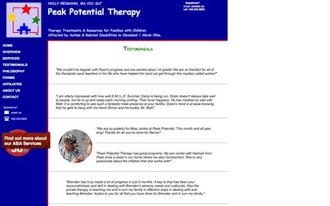 Screenshot of Testimonials Page peakpotentialtherapy.com - Client Testimonials Speech Therapy - captured Oct. 2, 2014