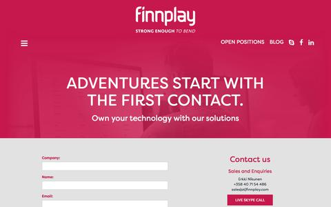 Screenshot of Contact Page finnplay.com - Finnplay - ADVENTURES START WITH THE FIRST CONTACT. - captured Aug. 13, 2018
