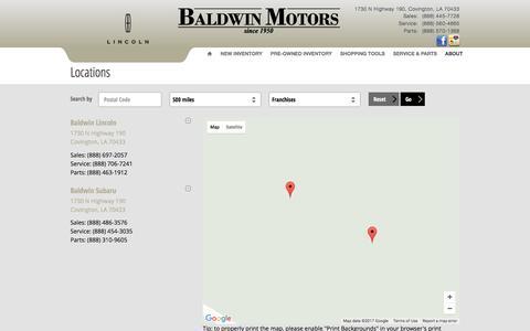 Screenshot of Locations Page baldwinmotors.com - Baldwin Motors, Inc. | New Lincoln, Subaru dealership in Covington, LA 70433 - captured May 21, 2017