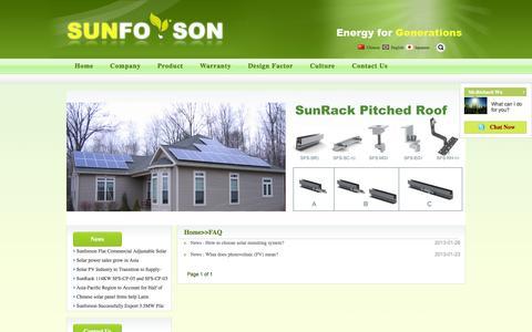 Screenshot of FAQ Page sunforson.com - news from www.sunforson.com - captured Oct. 8, 2014
