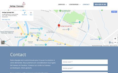 Screenshot of Contact Page vertige-concept.ch - Contact - Vertige Concept Les spécialistes des travaux en hauteur - captured Dec. 16, 2018