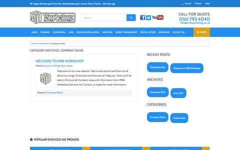 Screenshot of Press Page mrbworkshop.co.uk - Company News Archives - MRB Workshop Services Ltd - captured Feb. 2, 2016