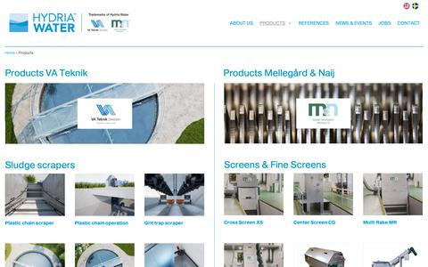 Screenshot of Products Page hydriawater.se - Products | Hydria Water - captured Oct. 19, 2018