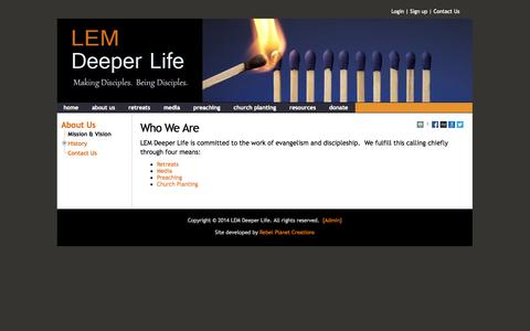 Screenshot of About Page lemdeeperlife.org - Who We Are - Deeper Life - captured Sept. 26, 2014