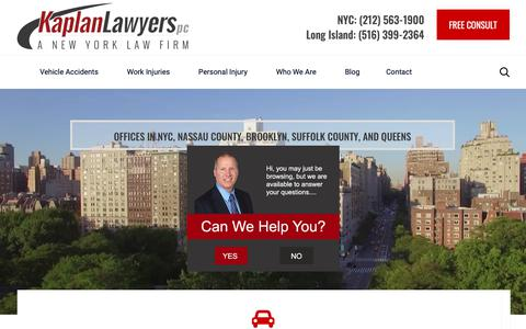 Screenshot of Home Page kaplanlawyers.com - New York Personal Injury Lawyers (NYC) | Kaplan Law Attorneys PC - captured Jan. 18, 2019