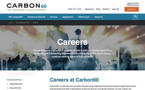 Screenshot of Jobs Page carbon60.com - Careers in Managed Hosting - Carbon60 Networks - captured July 16, 2016