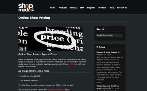 Screenshot of Pricing Page shopmade.co.uk - Online Shop Pricing - Shop Made Ltd - captured Nov. 4, 2014