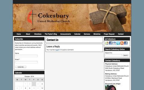 Screenshot of Contact Page cokesburymethodist.org - Contact Us | Cokesbury United Methodist Church - captured Oct. 3, 2014