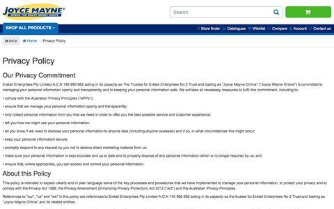 Screenshot of Privacy Page joycemayne.com.au - Privacy Policy | Joyce Mayne Australia - captured Jan. 9, 2016