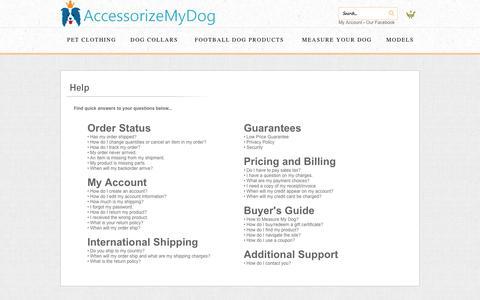 Screenshot of FAQ Page accessorizemydog.com - Help - captured Sept. 30, 2014