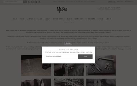 Screenshot of About Page mere.com.au - About Us - Mere Footwear - captured Nov. 28, 2016