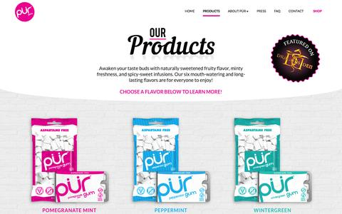Screenshot of Products Page pur-gum.com - PÜR GUM - OUR PRODUCTS - captured Oct. 28, 2014