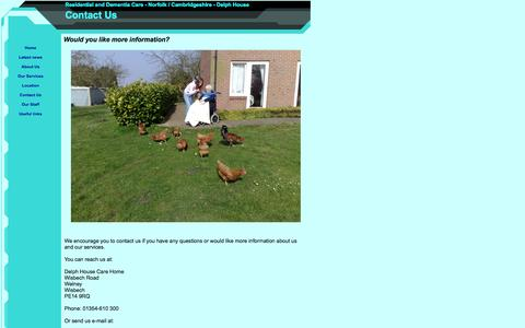 Screenshot of Contact Page delph-house.co.uk - Contact Us - captured Sept. 30, 2014