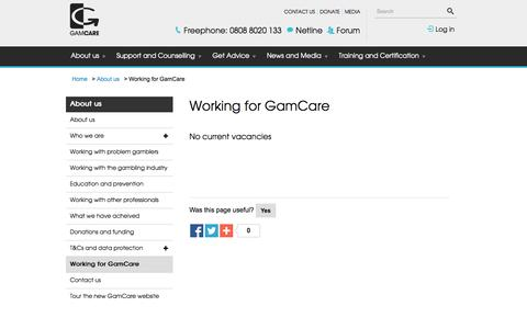 Screenshot of Jobs Page gamcare.org.uk - Working for GamCare | GamCare - captured Oct. 28, 2014