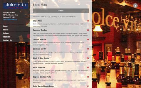 Screenshot of Menu Page dolcevitabar.com - Entree Menu | Dolce Vita Bar & Restaurant - Syracuse NY - captured Oct. 5, 2014