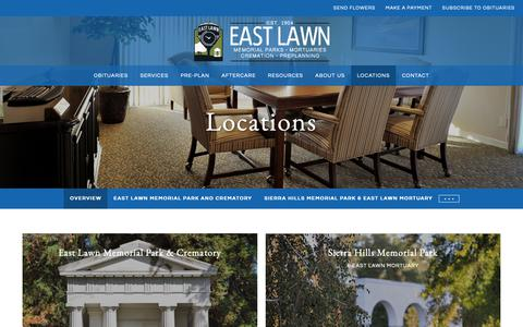 Screenshot of Locations Page eastlawn.com - Sacramento Funeral Homes, Cremation, Cemetery - East Lawn - captured Nov. 9, 2018