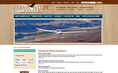 Screenshot of FAQ Page visitcarsonvalley.org - FAQs - Carson Valley Visitors Authority - Carson Valley, Nevada -- Genoa, Gardnerville, Minden, Topaz Lake - Events, Recreation, Hotels, Casinos, Restaurants - captured Oct. 2, 2014