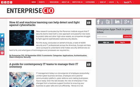 Screenshot of Press Page enterprise-cio.com - Enterprise Apps News: Enterprise mobility, Apps, BYOD, MAM - Enterprise Apps Tech News - captured Sept. 23, 2018