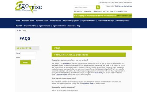 Screenshot of FAQ Page ergoprise.com - FAQs | Ergoprise.com - captured Sept. 19, 2014