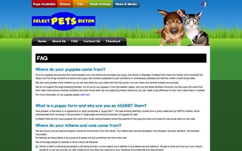 Screenshot of FAQ Page selectpets.com.au - FAQ | - captured Oct. 7, 2014