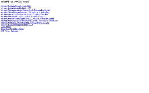 Screenshot of Site Map Page csi-8.com captured Oct. 3, 2014