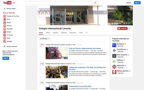 Screenshot of YouTube Page youtube.com - Colegio Internacional Levante  - YouTube - captured Oct. 22, 2014