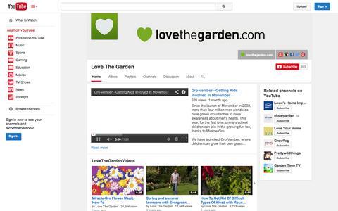 Screenshot of YouTube Page youtube.com - Love The Garden  - YouTube - captured Nov. 4, 2014