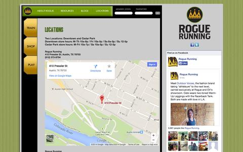 Screenshot of Locations Page roguerunning.com - Rogue Running - Austin, TX - Running Shoes, Gear, Training and Community - captured Oct. 1, 2014