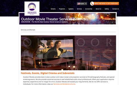 Screenshot of Services Page outdoor-movies.com - Outdoor Movie Theater Services & Rentals | Outdoor Movies.com - captured Oct. 7, 2014