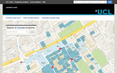 Screenshot of Maps & Directions Page ucl.ac.uk - UCL Maps - captured Oct. 3, 2015