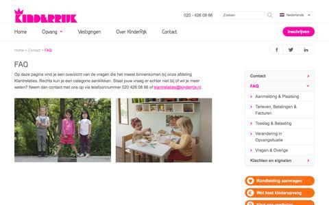 Screenshot of FAQ Page kinderrijk.nl - FAQ - KinderRijk - captured Nov. 27, 2016