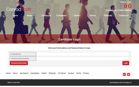 Screenshot of Login Page conradscott.co.uk - Candidate Login Recruitment to Recruitment jobs and for careers in recruitment - captured Nov. 5, 2018