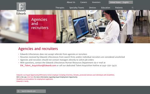 Agencies and recruiters | Edwards Lifesciences